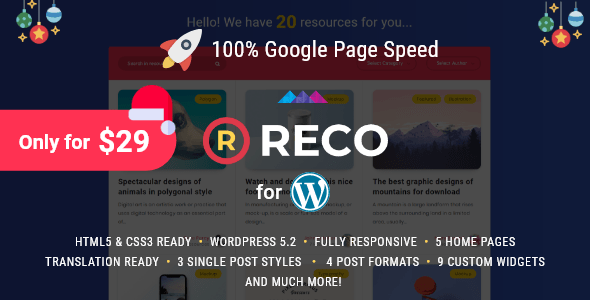 Reco – Minimal Theme for Freebies – WP Theme Download