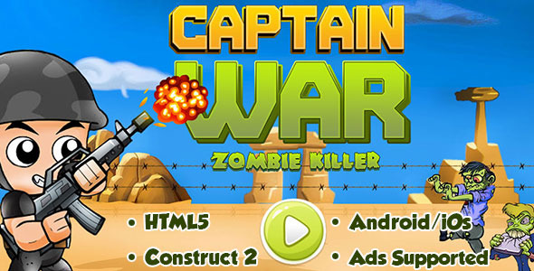 Captain Conflict : Zombie Killer – HTML5 Android (CAPX) – PHP Script Download