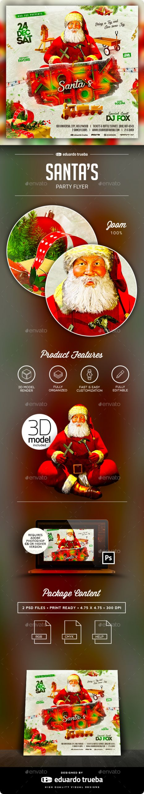 Flyers PSD – Santa's Workshop Christmas Birthday party Flyer – Download