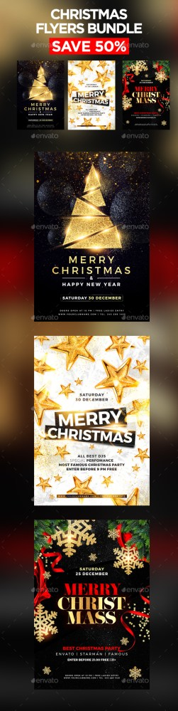 Flyers PSD – Merry Christmas Flyer Bundle – Download