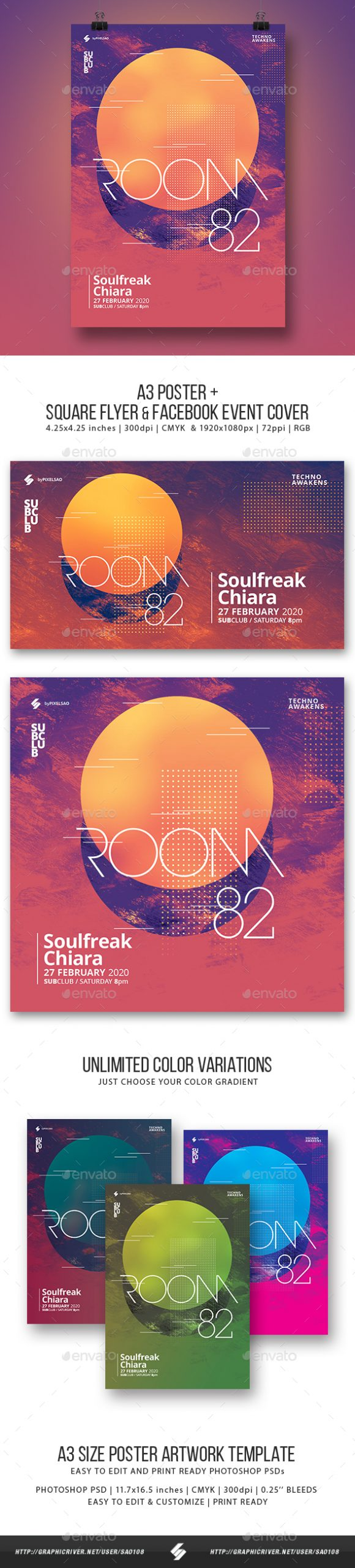 Flyers PSD – Room 82 – Minimal Party Flyer / Poster Artwork Template A3 – Download