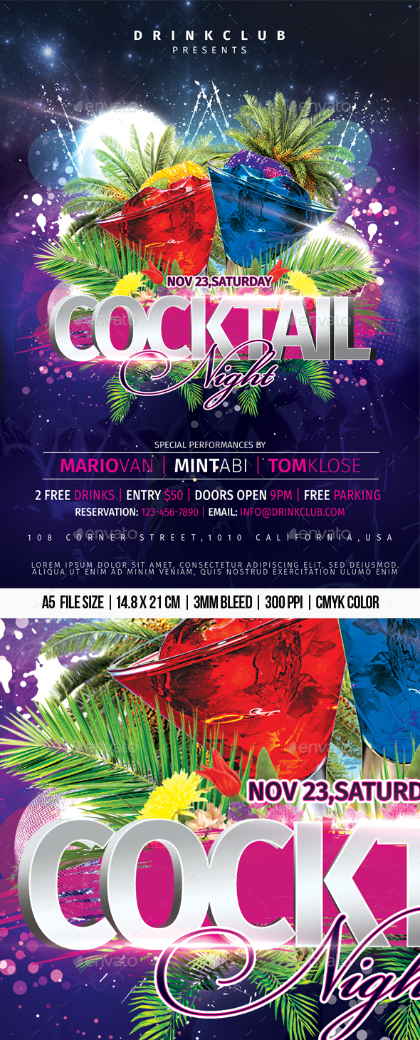 Flyers PSD – Cocktail Night – Download
