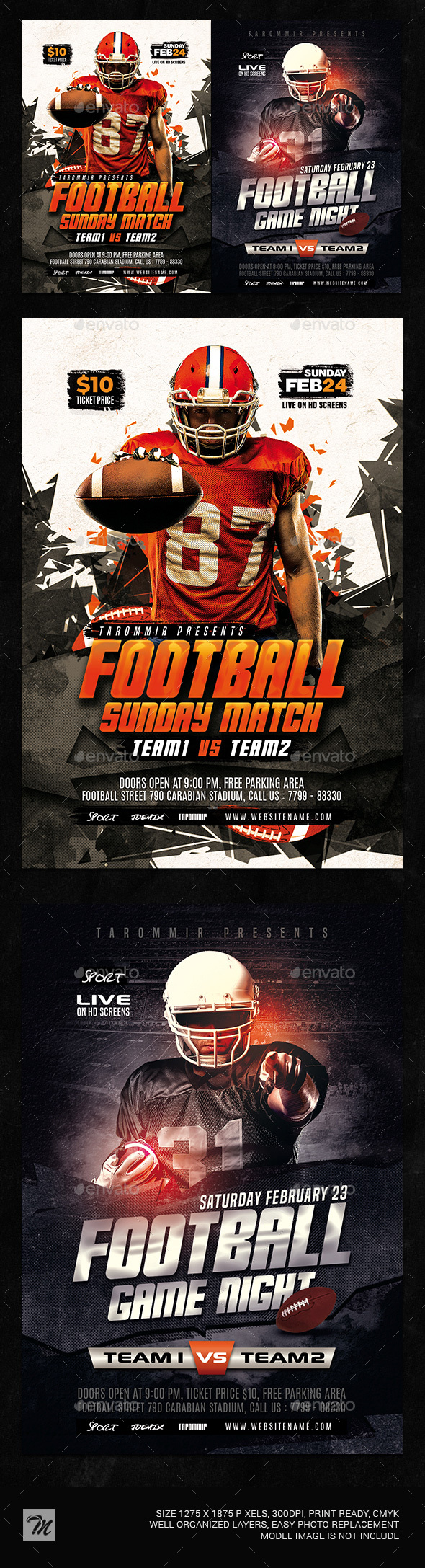 Flyers PSD – Football Flyer Bundle Vol 2 – Download