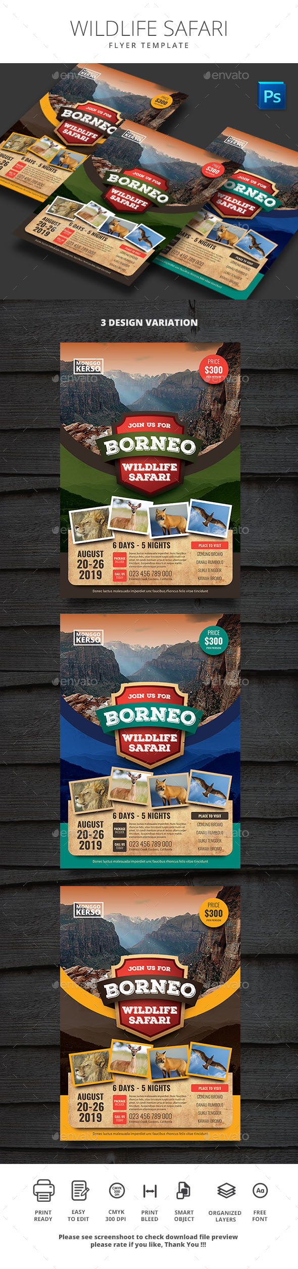 Flyers PSD – Natural world Safari – Download