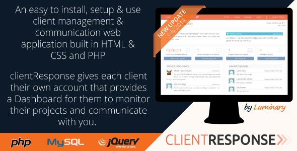 clientResponse Responsive PHP Client Management – PHP Script Download