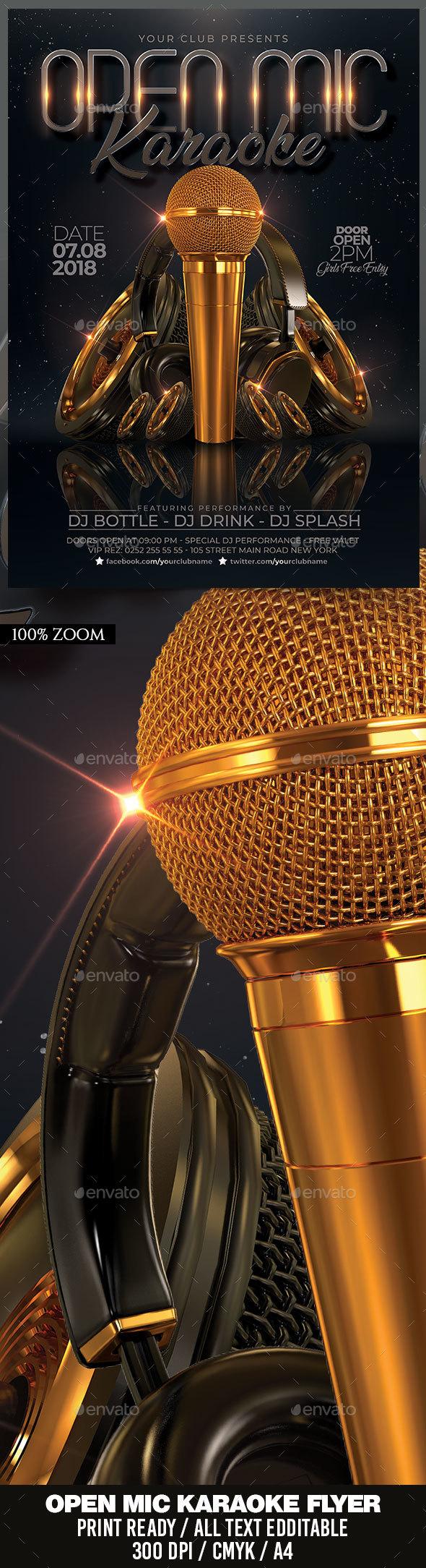 Flyers PSD – Open Mic Karaoke – Download