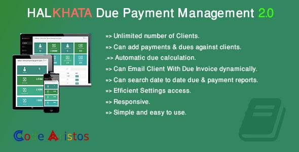 Halkhata Due Payment Management – PHP Script Download