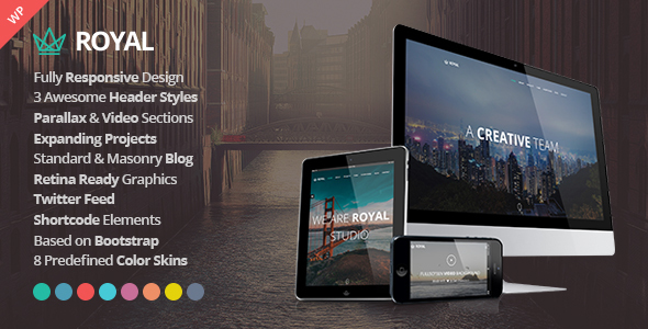 Royal – Responsive One Page Parallax WordPress Theme – WP Theme Download