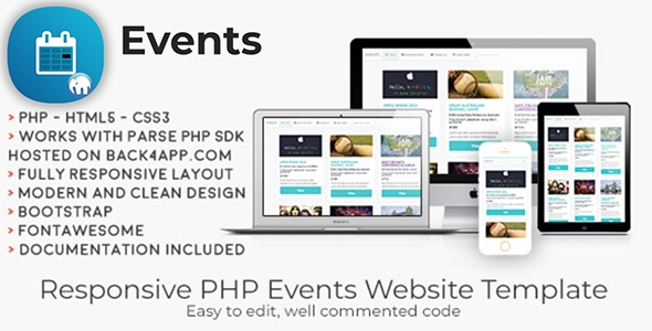 Events | PHP Event Sharing Web Template – PHP Script Download