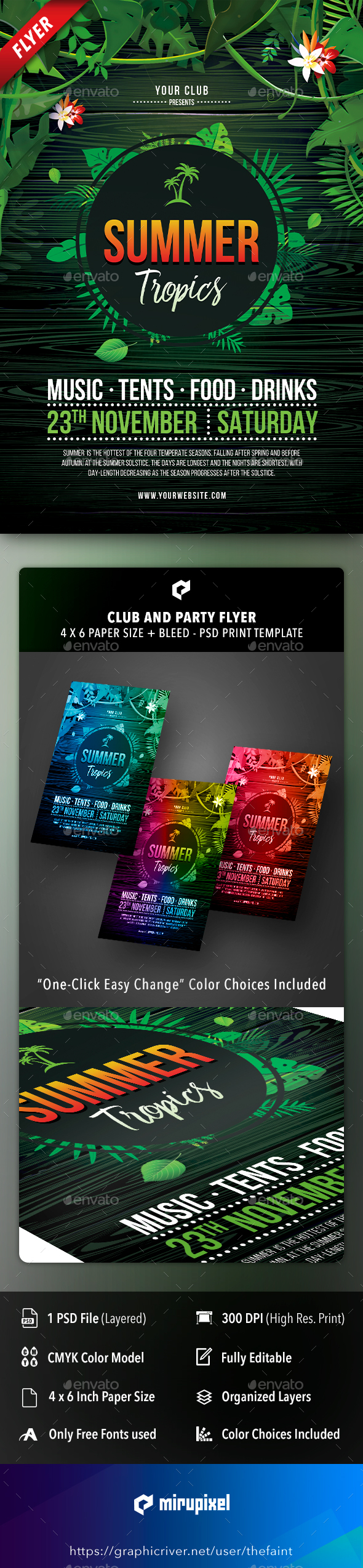 Flyers PSD – Summer season Tropics Club and Occasion Flyer – Download