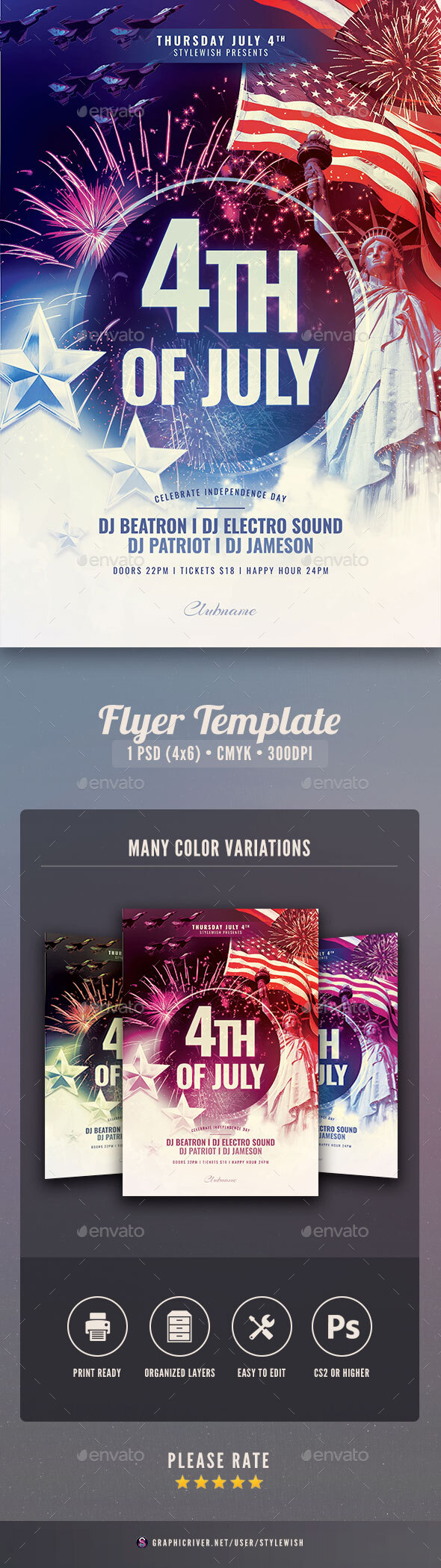 Flyers PSD – 4th of July Flyer – Download