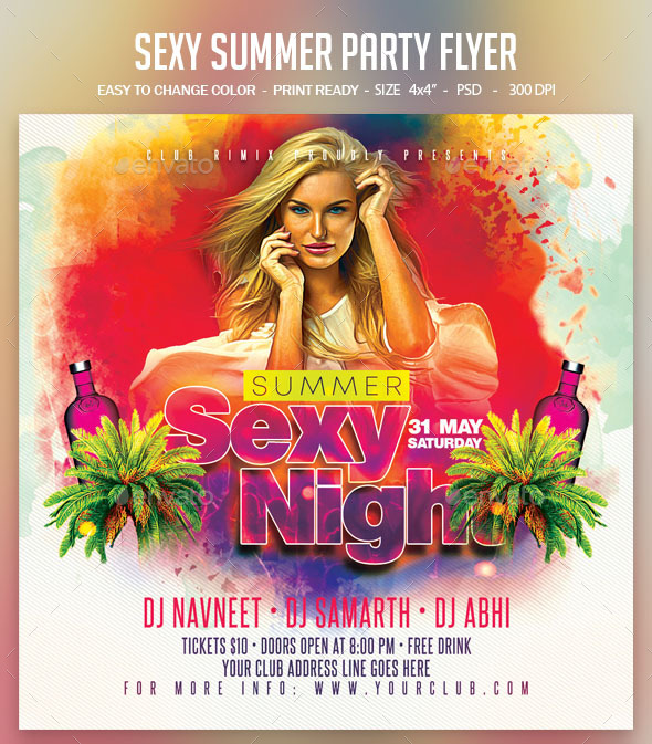 Flyers PSD – Horny Summer season Occasion Flyer – Download