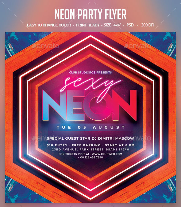 Flyers PSD – Neon Social gathering Flyer – Download