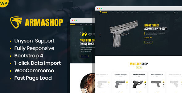 Armashop – Guns and Ammo WooCommerce theme – WP Theme Download