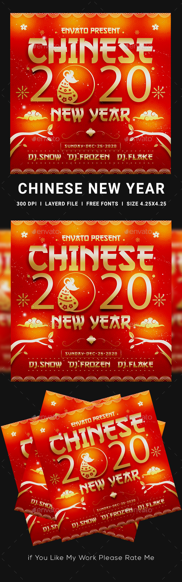 Flyers PSD – Chinese language Unique one year Flyer – Download
