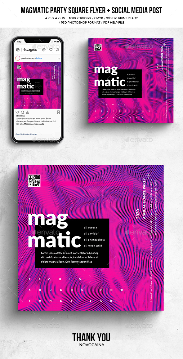 Flyers PSD – Magmatic Track Sq. Flyer & Social Media Put up – Download
