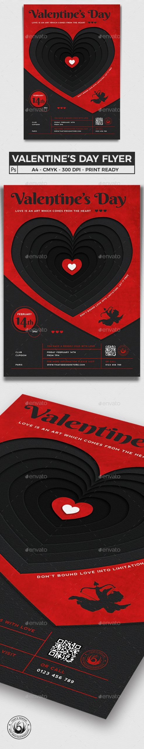 Flyers PSD – Valentines Day Flyer Template V23 – Download