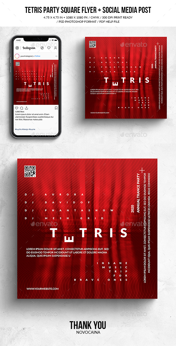 Flyers PSD – Tetris Music Square Flyer & Social Media Put up – Download