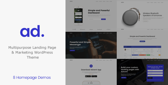 Product Landing Page WordPress Theme – Advent – WP Theme Download