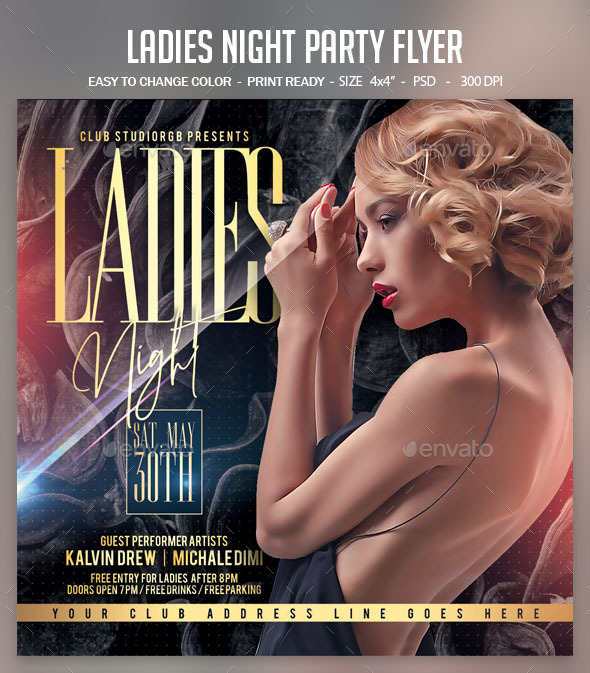 Flyers PSD – Women folks Night time Salvage collectively Flyer – Download