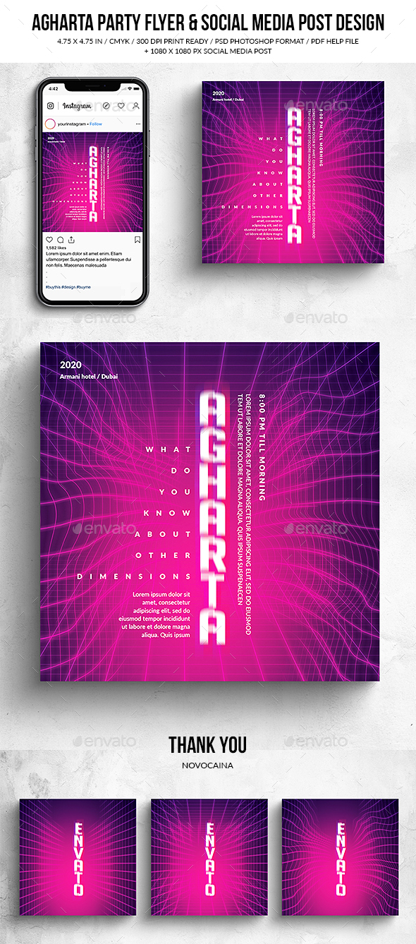 Flyers PSD – Agharta Celebration Square Flyer & Social Media Post – Download