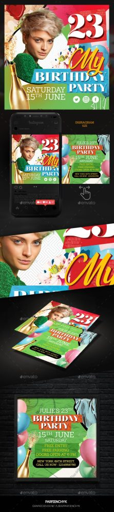 Flyers PSD – Birthday Birthday party Flyer – Download