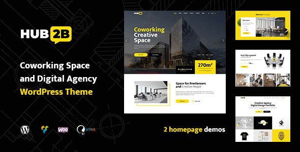 Hub2B – Coworking Put and Digital Company WordPress Theme – WP Theme Download