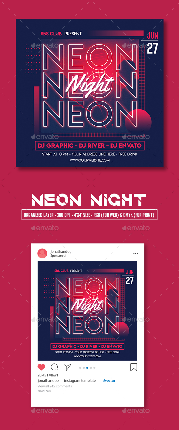 Flyers PSD – Neon Evening Flyer Template – Download