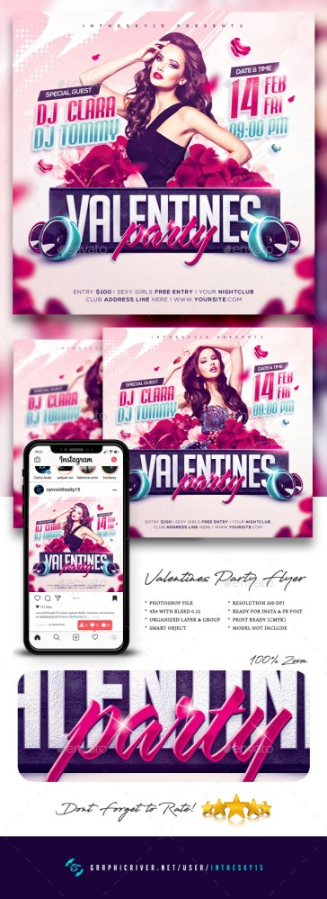 Flyers PSD – Valentines Social gathering Flyer – Download