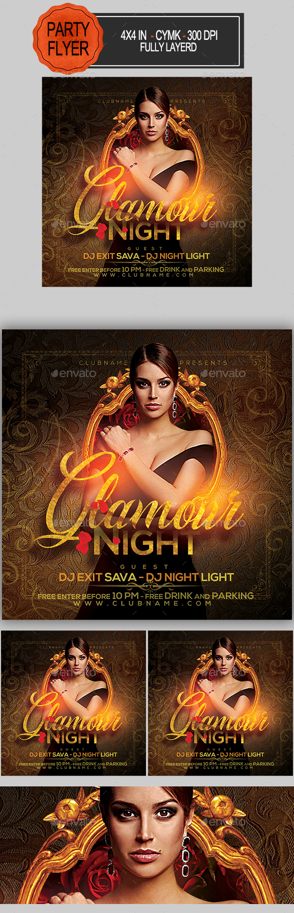 Flyers PSD – Glamour Night Net collectively Flyer – Download