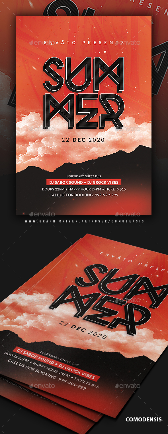 Flyers PSD – Summer season Occasion Flyer Template  – Download