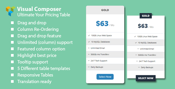 Malkoo Pricing Table Addon For Visual Composer  – PHP Script Download