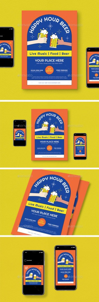 Flyers PSD – Relaxed Hour Flyer Pack  – Download
