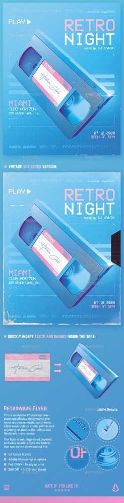 Flyers PSD – Fresh Retro Wave Flyer 80s VHS Template v5  – Download