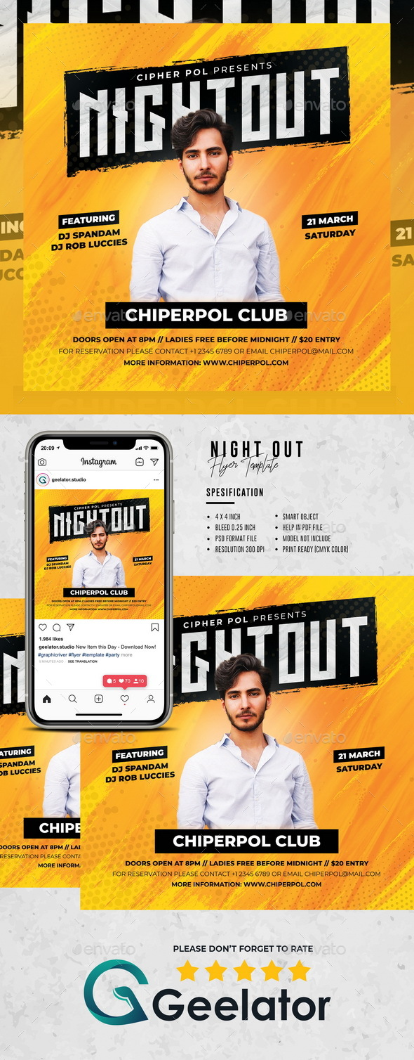 Flyers PSD – Night Out Flyer Template  – Download