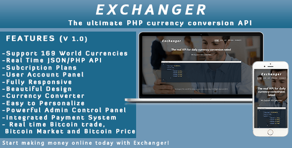 Exchanger | Forex converter API / Realtime CryptoCurrency  – PHP Script Download