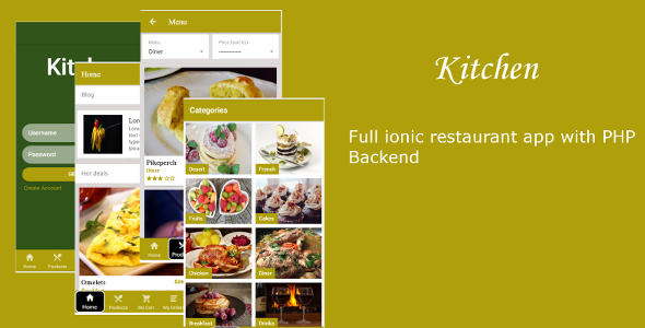 Kitchen – Ionic 3 restaurant  template  – PHP Script Download