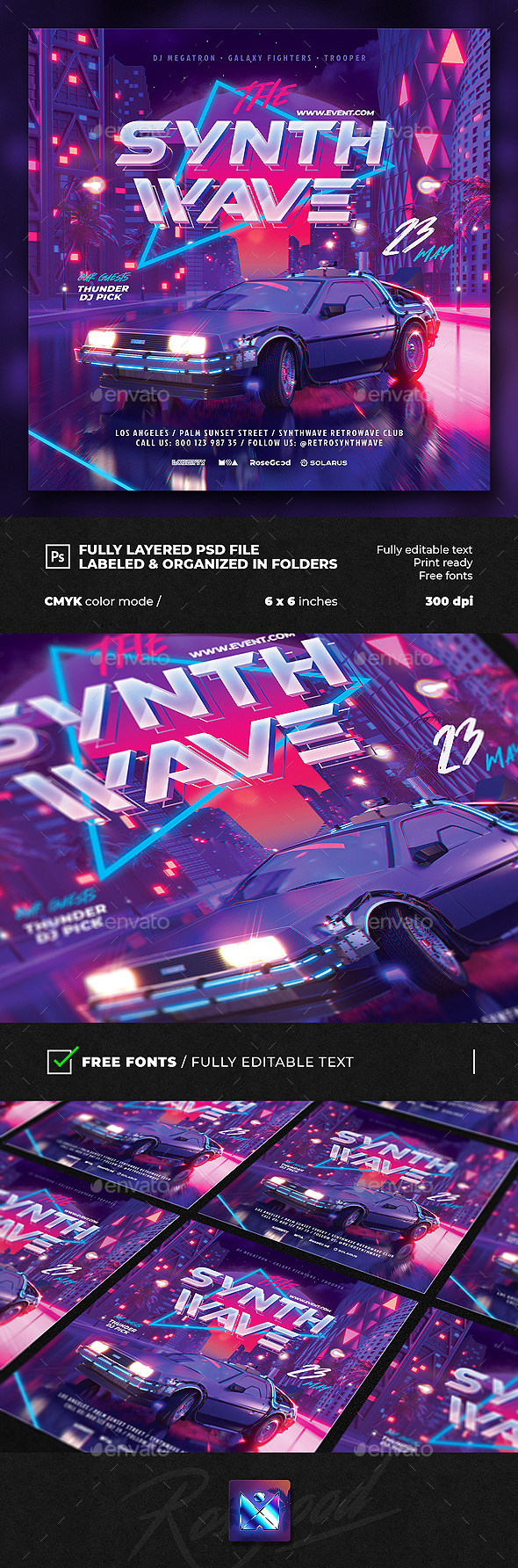 Flyers PSD – Occasion Flyer Synth Wave  – Download