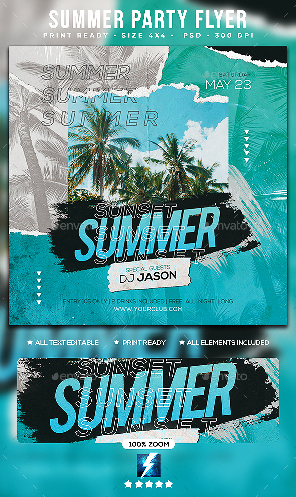 Flyers PSD – Summer Birthday celebration Flyer  – Download