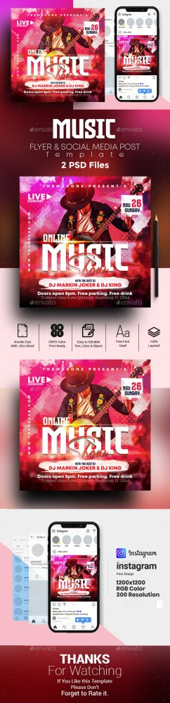 Flyers PSD – On-line Music Flyer  – Download