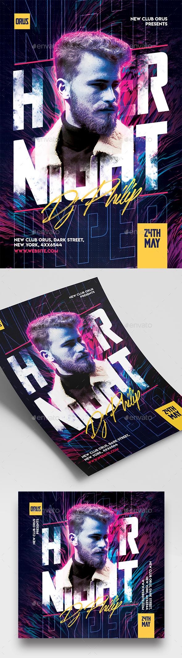 Flyers PSD – Hyper Night Celebration Flyer  – Download