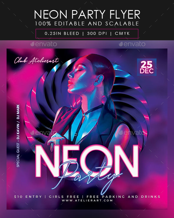 Flyers PSD – Neon Occasion Flyer  – Download