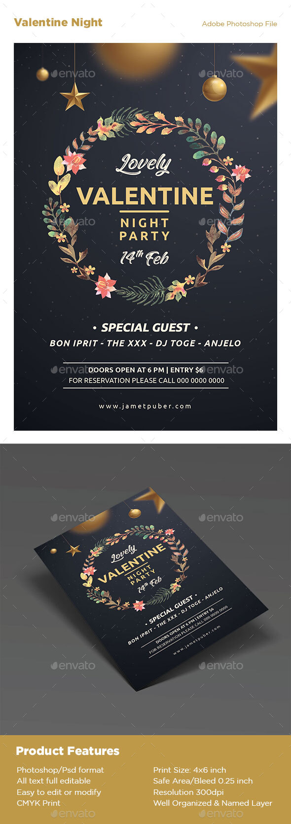 Flyers PSD – Valentine Night time  – Download