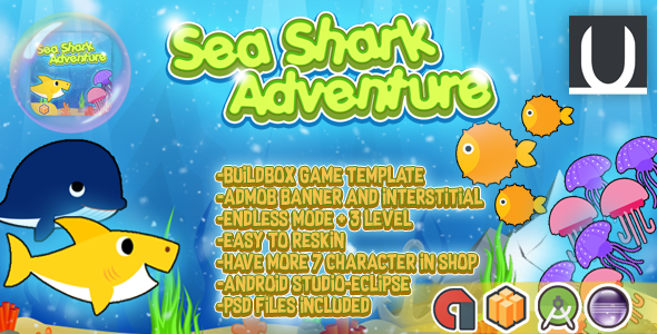 Sea Shark Adventure + Admob (BBDOC+Android Studio+Eclipse)  – PHP Script Download