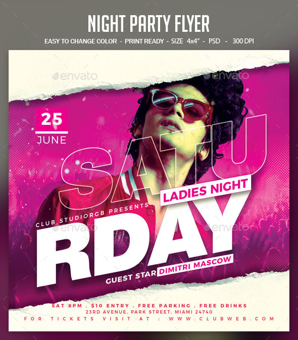 Flyers PSD – Night Event Flyer  – Download