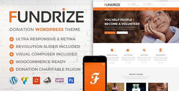 fundrize responsive donation charity wordpress theme download