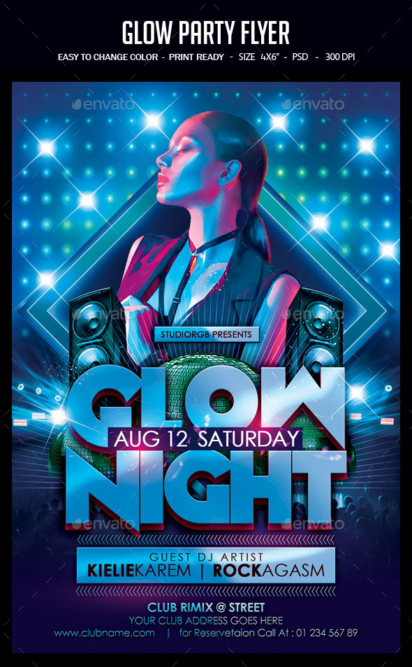 Flyers PSD – Glow Occasion Flyer – Download