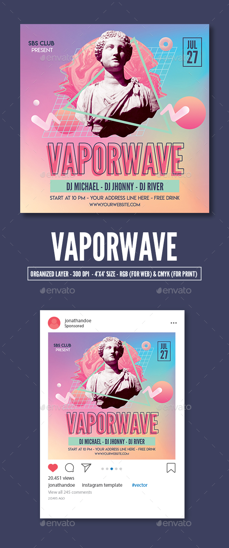 Flyers PSD – Vaporwave Birthday celebration Flyer Template – Download