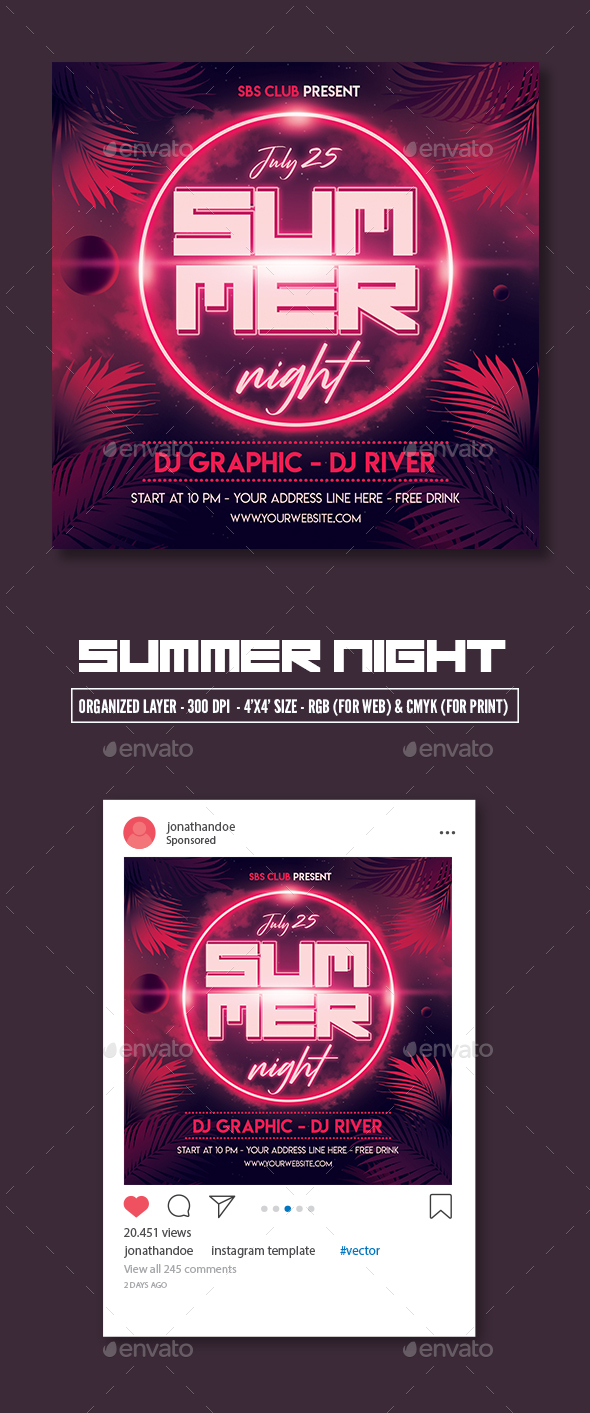Flyers PSD – Summer Night Celebration Flyer Template – Download