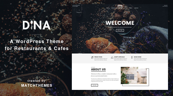 Dina – Restaurant, Bar, Cafe, Meals WordPress Theme  – WP Theme Download